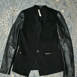 Black Blazer With Leather Sleeves-NWT